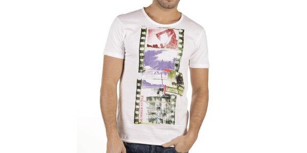 Pánske biele tričko s farebnou potlačou New Caro