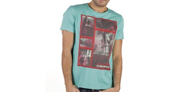 Pánske mätovo zelené tričko s potlačou New Caro