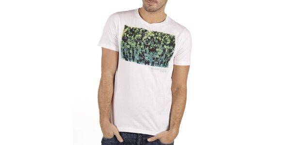 Pánske biele tričko s potlačou New Caro