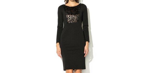 Dámske čierne šaty s lesklým dielom Eccentrica