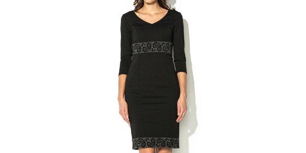 Dámske čierne šaty so vzorovaným lemom Eccentrica