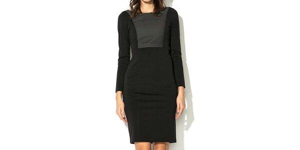 Dámske čierne šaty so šedým dielom Eccentrica