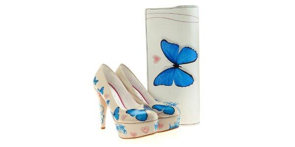 Dámske lodičky a listová kabelka Elite Goby - s modrým motýlikom