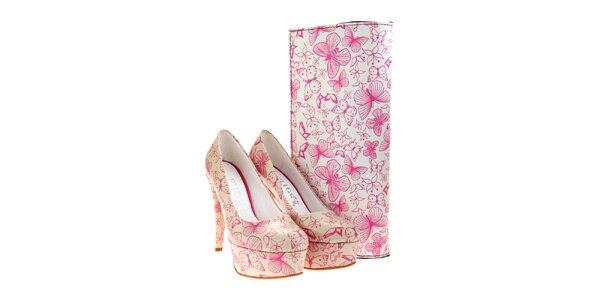 Dámske lodičky a listová kabelka Elite Goby - s ružovými motýlikmi