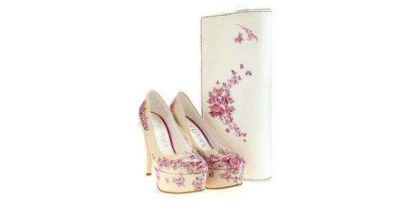 Dámske lodičky a listová kabelka Elite Goby - s ružovým motívom
