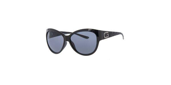 Dámske čierne slnečné okuliare s dekoráciou na straniciach Guess