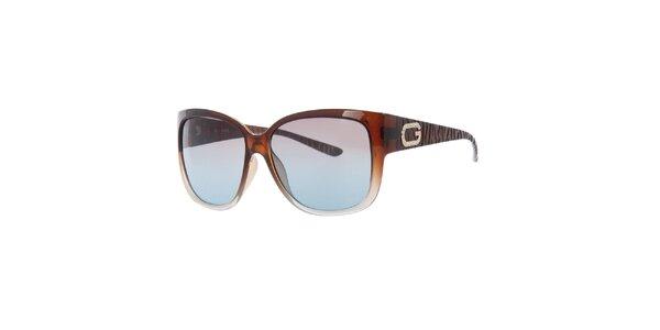 Dámske hnedé slnečné okuliare s dekoráciou na straniciach Guess