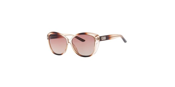 Dámske hnede transparentné slnečné okuliare Guess