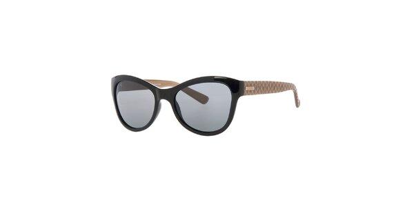 Dámske čierne slnečné okuliare so vzorovanými stranicami Guess