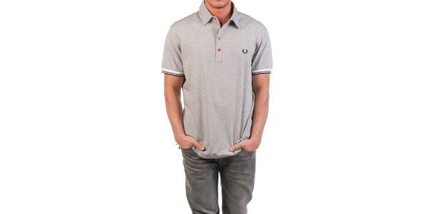 Pánske šedé polo tričko s farebnými gombíkmi Fred Perry