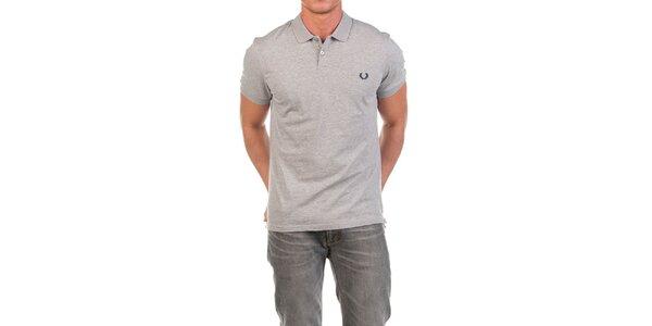 Pánske šedé polo tričko s výšivkou Fred Perry