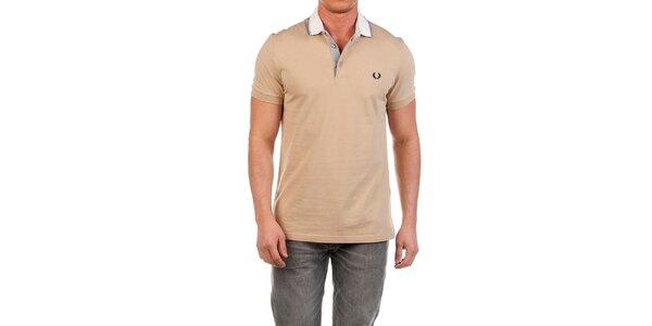 Pánske béžové polo tričko s bielym límčekom Fred Perry