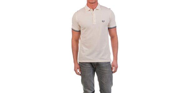 Pánske krémovo biele polo tričko s modrými prvkami Fred Perry