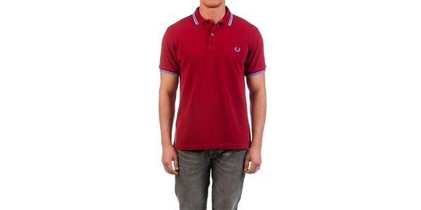 Pánske tmavo červené tričko s modrými prvkami Fred Perry