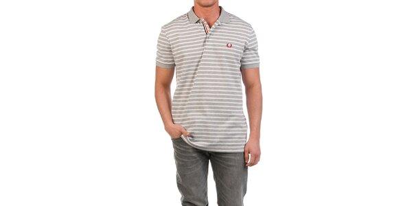 Pánske šedo prúžkované polo tričko Fred Perry