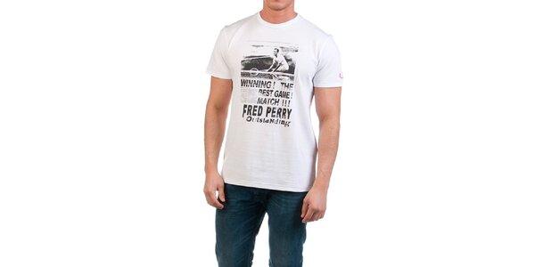 Pánske biele tričko s potlačou Fred Perry