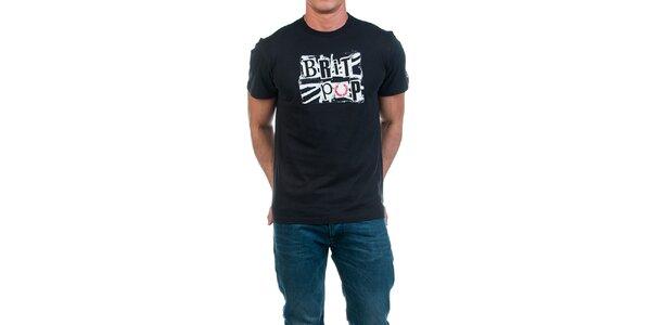 Pánske čierne tričko s potlačou Fred Perry