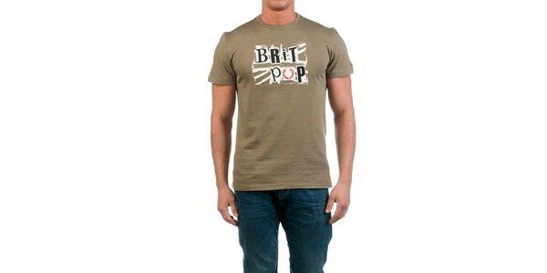 Pánske khaki tričko s potlačou Fred Perry