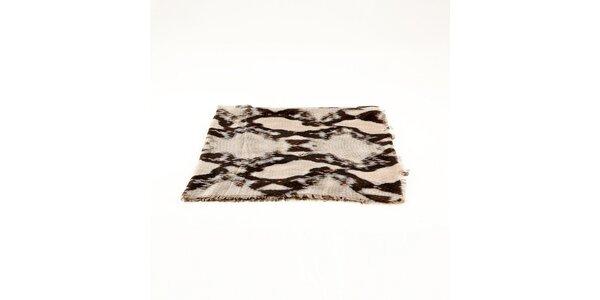 Dámska krémovo-hnedá šatka Just Cavalli s hadím vzorom