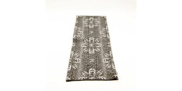 Dámsky šedý šál Just Cavalli s bielym kvetinovým vzorom