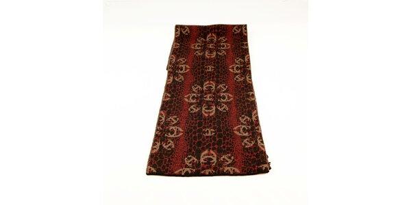 Dámsky červeno-čierny šál Just Cavalli s hnedým kvetinovým vzorom