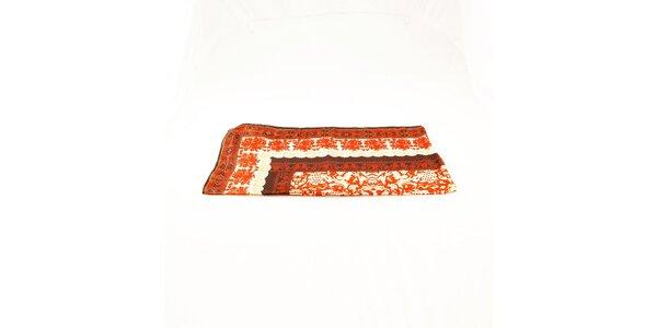 Dámska oranžovo-krémová hedvábna šatka Just Cavalli s orientálnym vzorom
