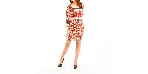 Dámske krémové šaty Just Cavalli s červeným vzorom