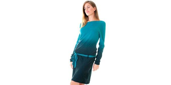 Dámske tyrkysové šaty s opaskom Goa Goa