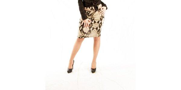Dámska béžová sukňa Just Cavalli s hadím vzorom