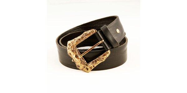 Dámsky čierny kožený opasok Just Cavalli so zlatou sponou