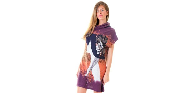 Dámske fialové šaty s potlačou Goa Goa