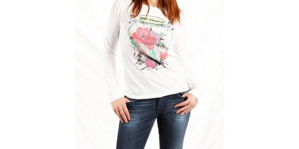 Dámske biele tričko Just Cavalli s potlačou ruží