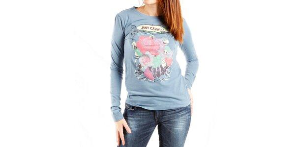 Dámske svetlo modré tričko Just Cavalli s potlačou ruží