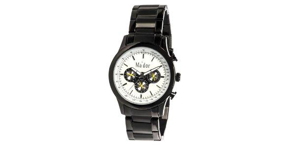 Pánske čierne športové hodinky s bielym ciferníkom Ma´dor