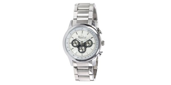 Pánske športové hodinky s bielym ciferníkom Ma´dor
