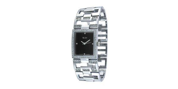 Dámske náramkové hodinky s hranatým čiernym ciferníkom Ma´dor