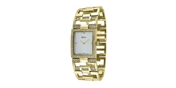 Dámske náramkové hodinky s hranatým ciferníkom Ma´dor v zlatej farbe