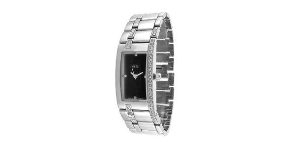 Dámske náramkové hodinky s obdĺžnikovým čiernym ciferníkom Ma´dor