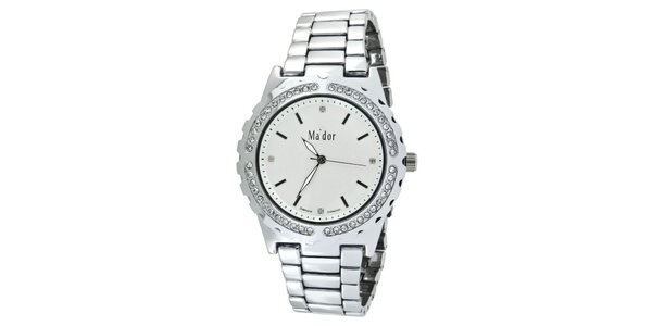 Dámske hodinky s guľatým bielym ciferníkom Ma´dor