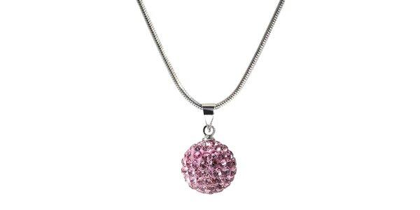 Dámsky náhrdelník s guľatým ružovým príveskom Ma´dor
