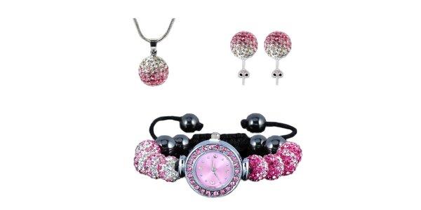 Dámsky set hodiniek, náušníc a náhrdelníku s ružovými zirkónmi Ma´dor