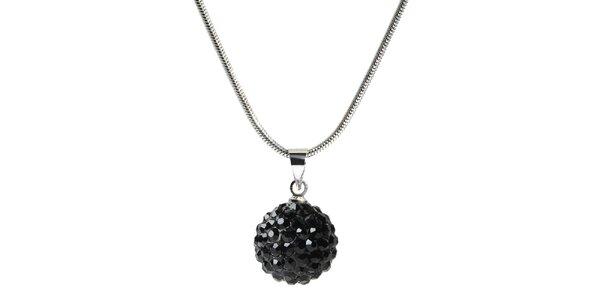 Dámsky náhrdelník s guľatým čiernym príveskom Ma´dor
