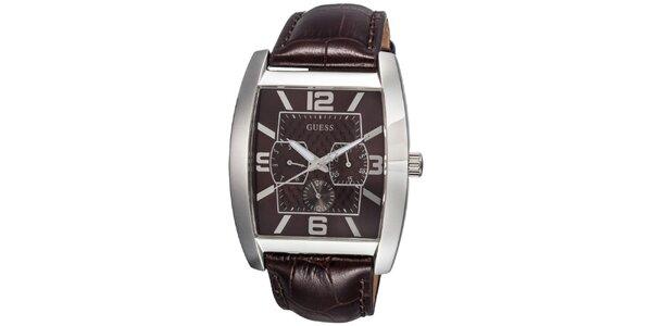 Pánske oceľové hodinky s tmavo hnedým remienkom Guess