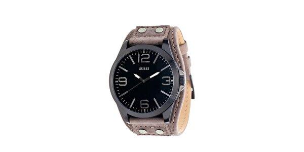 Pánske guľaté oceľové hodinky s tmavým ciferníkom Guess