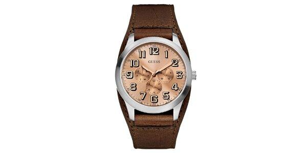 Pánske oceľové hodinky s koženým hnedým remienkom Guess