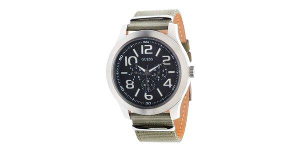 Pánske športové oceľové hodinky s textilným remienkom Guess