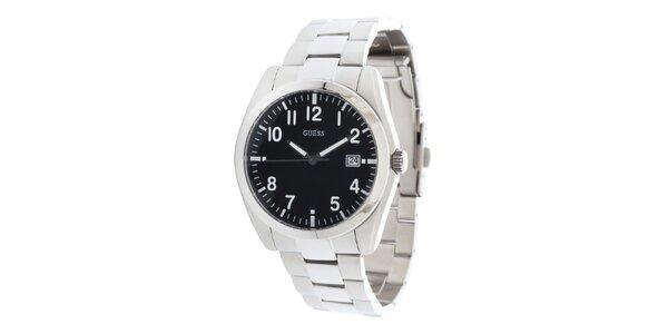 Pánske športové oceľové hodinky s čiernym guľatým ciferníkom Guess