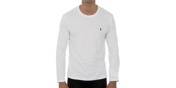 Biele tričko Ralph Lauren s dlhým rukávom