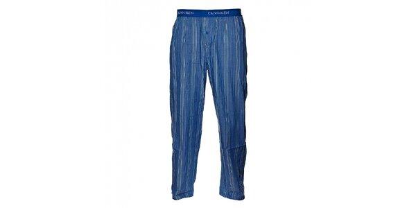Pánske svetlo modré prúžkované pyžamové nohavice Calvin Klein Underwear