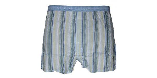 Pánske svetlo modré slim fit trenky Calvin Klein Underwear s farebnými prúžkami